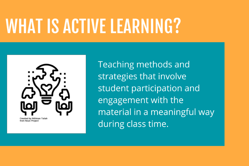 WHAT IS ACTIVE LEARNING?  Created by Tatah  Noun project  Teaching methods and  strategies that involve  student participation and  engagement with the  material in a meaningful way  during class time.